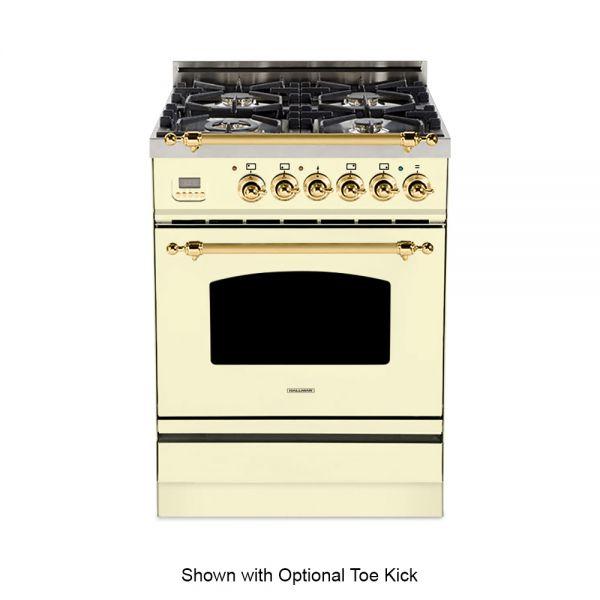 24 in. Single Oven Dual Fuel Italian Range, Brass Trim