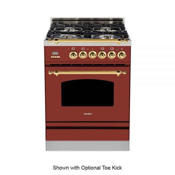 24 in. Single Oven Dual Fuel Italian Range, LP Gas, Brass Trim