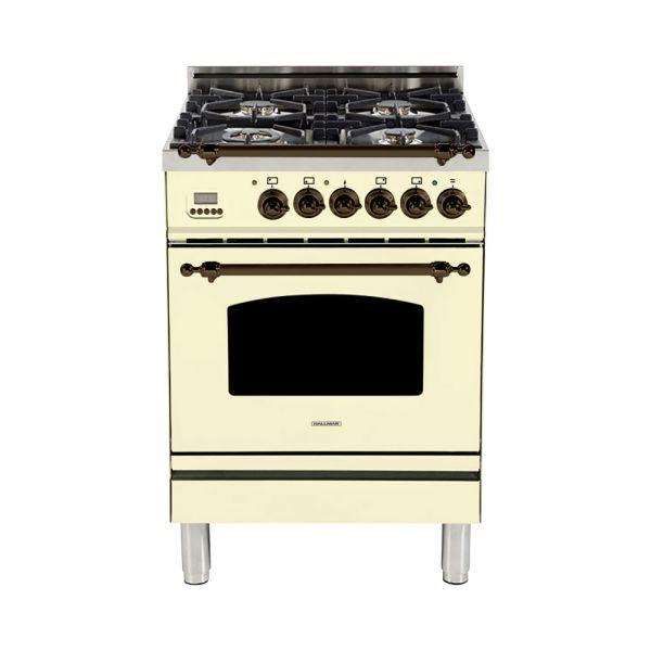 24 in. Single Oven Dual Fuel Italian Range, Bronze Trim