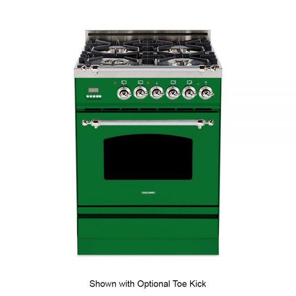 24 in. Single Oven Dual Fuel Italian Range, Chrome Trim