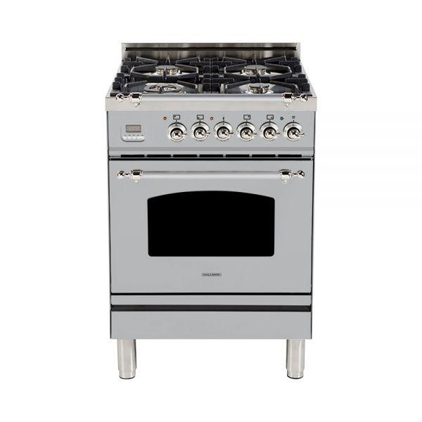 24 in. Single Oven Dual Fuel Italian Range, LP Gas, Chrome Trim