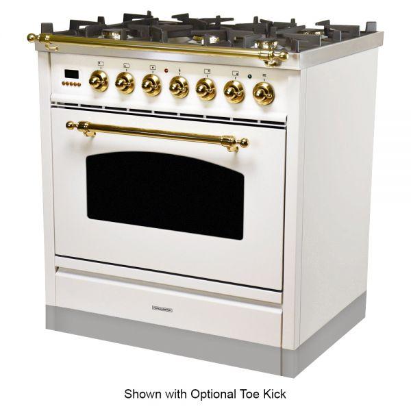 30 in. Single Oven Dual Fuel Italian Range, Brass Trim