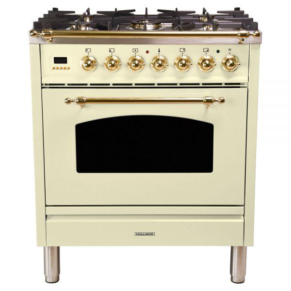 30 in. Single Oven Duel Fuel Italian Range, LP Gas, Brass Trim
