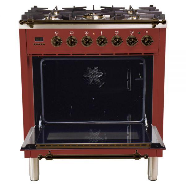 30 in. Single Oven Duel Fuel Italian Range, Bronze Trim