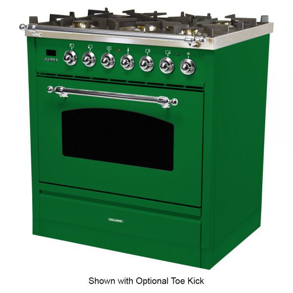 30 in. Single Oven Duel Fuel Italian Range, Chrome Trim