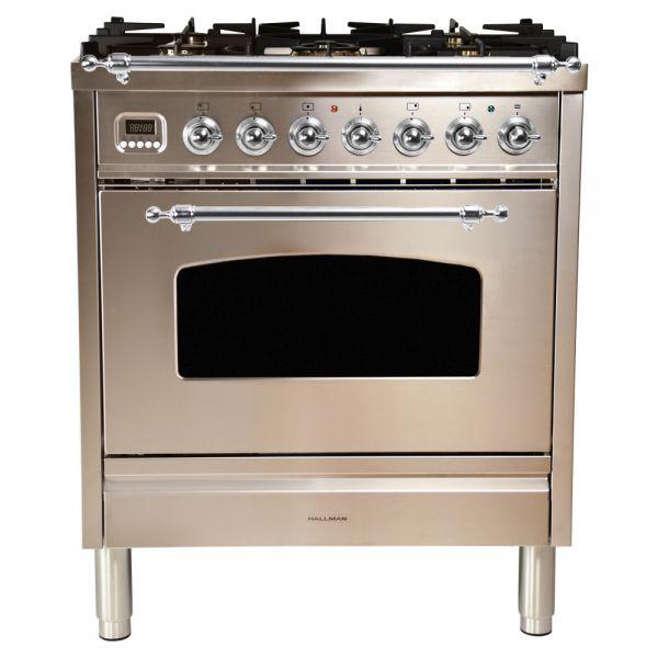 30 in. Single Oven Duel Fuel Italian Range, Chrome Trim in Stainless-steel
