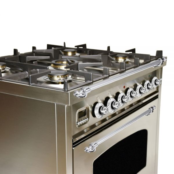 30 in. Single Oven Duel Fuel Italian Range, LP Gas, Chrome Trim in Stainless-steel