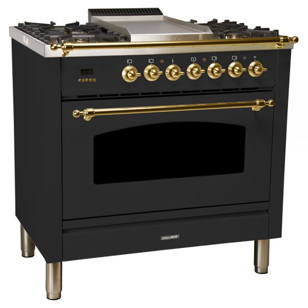 36 in. Single Oven Dual Fuel Italian Range, Brass Trim