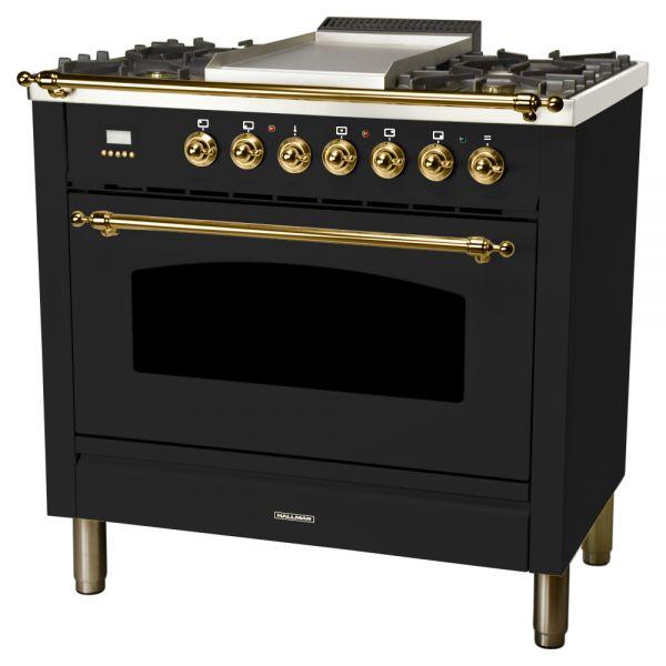 36 in. Single Oven Dual Fuel Italian Range, LP Gas, Brass Trim in Glossy Black