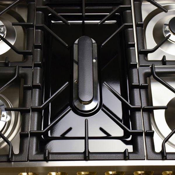 36 in. Single Oven Dual Fuel Italian Range, LP Gas, Brass Trim