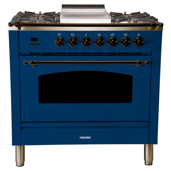 36 in. Single Oven Dual Fuel Italian Range, Bronze Trim