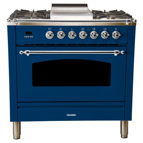 36 in. Single Oven Dual Fuel Italian Range, LP Gas, Chrome Trim
