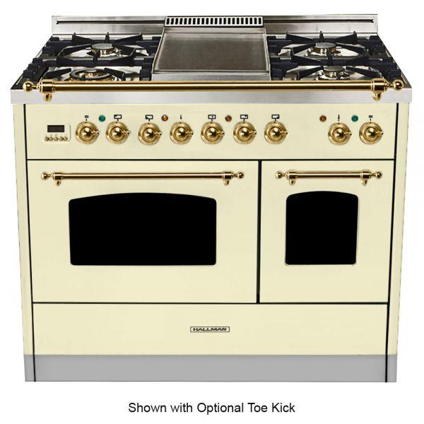 40 in. Double Oven Duel Fuel Italian Range, Brass Trim in Antique White