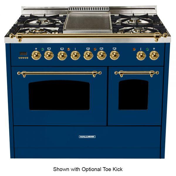 40 in. Double Oven Duel Fuel Italian Range, Brass Trim in Blue