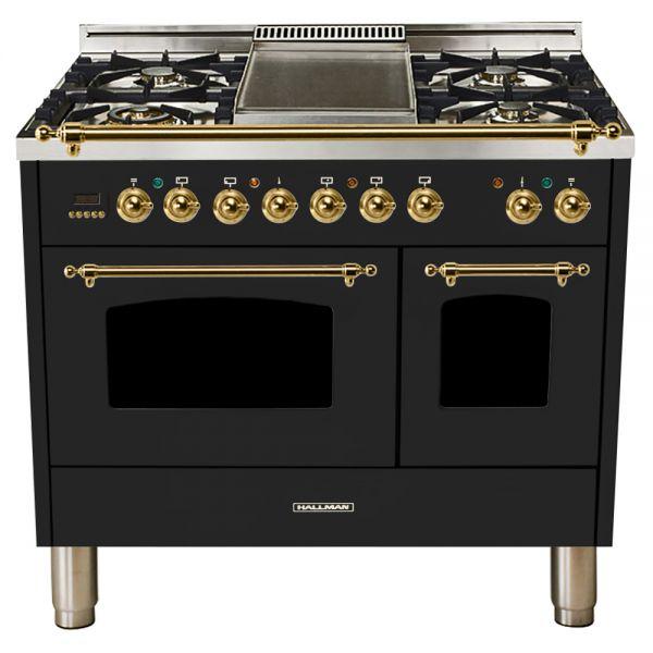 40 in. Double Oven Duel Fuel Italian Range, Brass Trim in Glossy Black