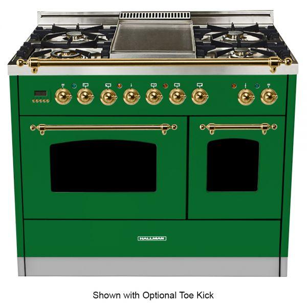 40 in. Double Oven Duel Fuel Italian Range, Brass Trim in Emerald Green