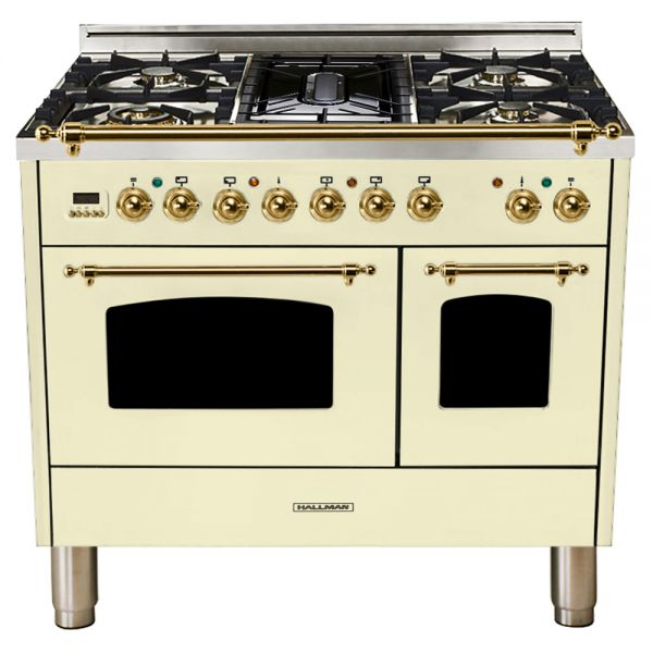 40 in.  Double Oven Dual Fuel Italian Range, LP Gas, Brass Trim