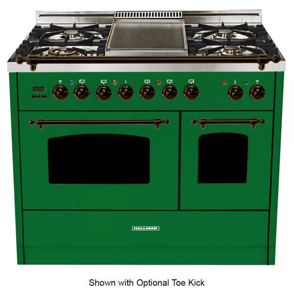 40 in. Double Oven Duel Fuel Italian Range, LP Gas, Bronze Trim