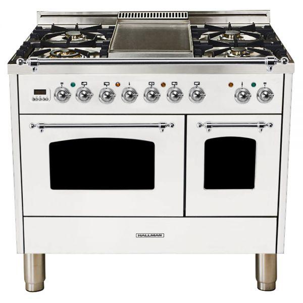 40 in. Double Oven Dual Fuel Italian Range, Chrome Trim