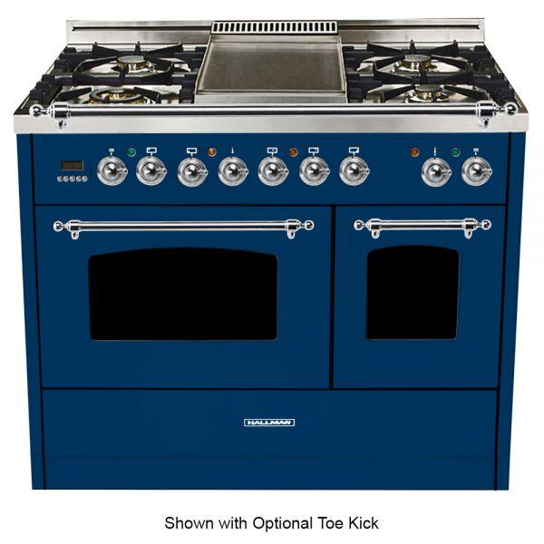 40 in. Double Oven Dual Fuel Italian Range, LP Gas, Chrome Trim