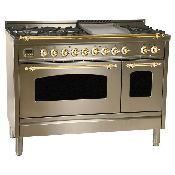 48 in. Double Oven Dual Fuel Italian Range, Brass Trim
