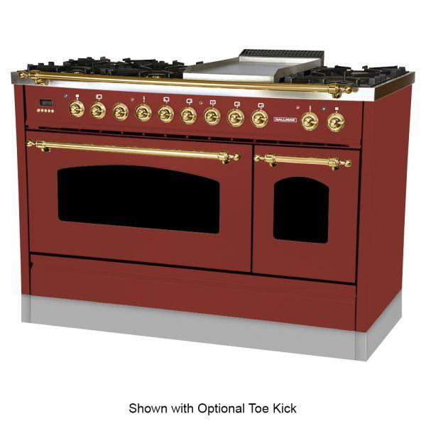 48 in. Double Oven Dual Fuel Italian Range, LP Gas, Brass Trim