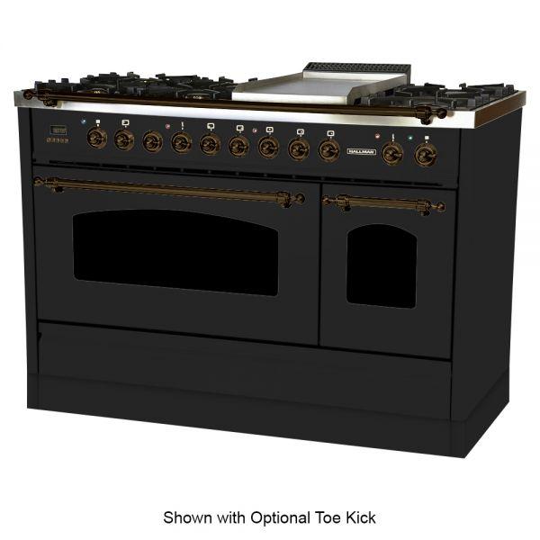 48 in. Double Oven Dual Fuel Italian Range, LP Gas, Bronze Trim in Glossy Black