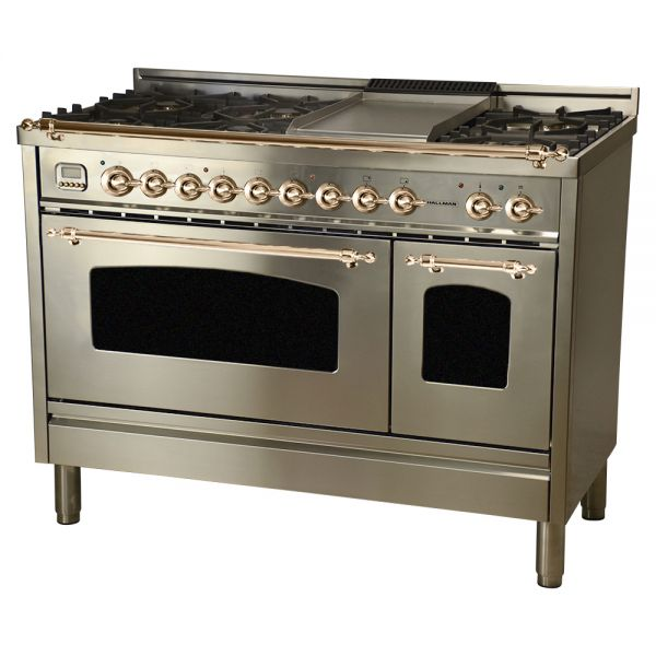 48 in. Double Oven Dual Fuel Italian Range, LP Gas, Bronze Trim