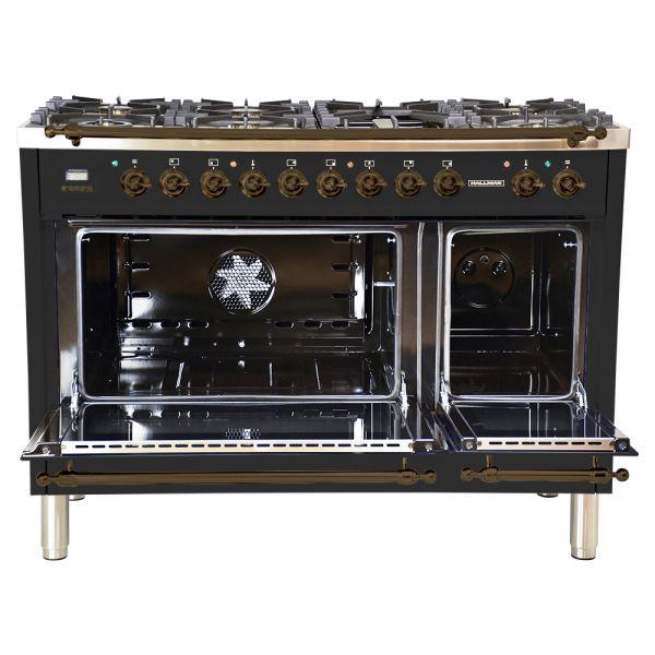 48 in. Double Oven Duel Fuel Italian Range, LP Gas, Bronze Trim