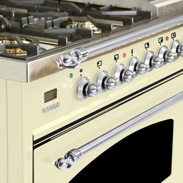 48 in. Double Oven Dual Fuel Italian Range, Chrome Trim