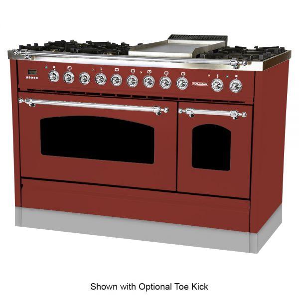 48 in. Double Oven Dual Fuel Italian Range, LP Gas, Chrome Trim in Burgundy