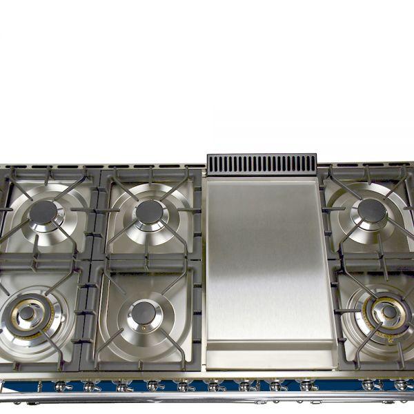 48 in. Double Oven Dual Fuel Italian Range, LP Gas, Chrome Trim in Blue