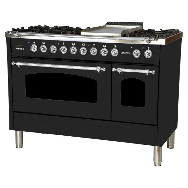 48 in. Double Oven Dual Fuel Italian Range, LP Gas, Chrome Trim