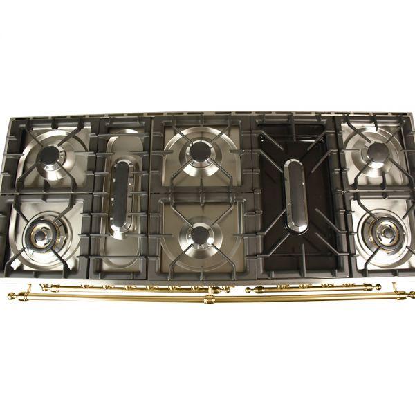 60 in. Double Oven Dual Fuel Italian Range, Brass Trim