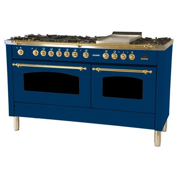 60 in. Double Oven Dual Fuel Italian Range, LP Gas, Brass Trim
