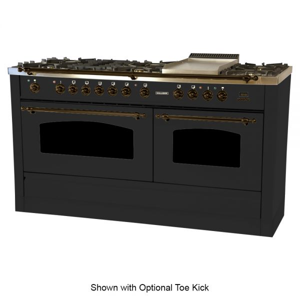 60 in.  Double Oven Dual Fuel Italian Range, Bronze Trim