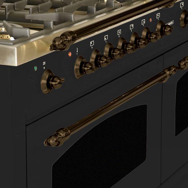 60 in. Double Oven Dual Fuel Italian Range, LP Gas, Bronze Trim in Glossy Black