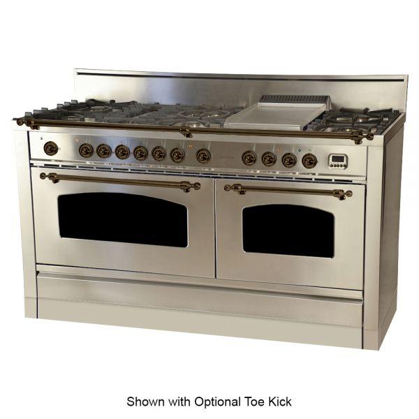 60 in. Double Oven Duel Fuel Italian Range, LP Gas, Bronze Trim