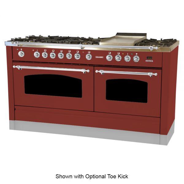 60 in. Double Oven Dual Fuel Italian Range, Chrome Trim