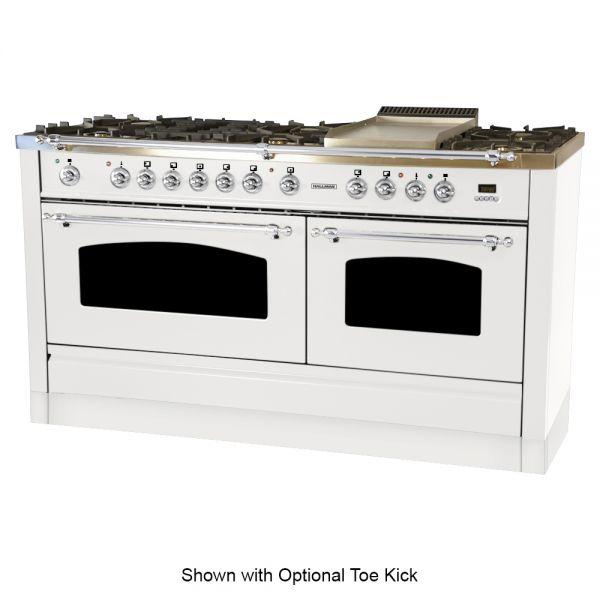 60 in. Double Oven Dual Fuel Italian Range, LP Gas, Chrome Trim in White