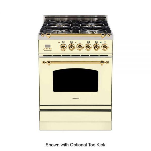 24 in. Single Oven All Gas Italian Range, Brass Trim
