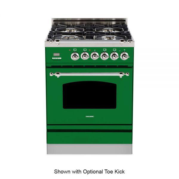 24 in. Single Oven All Gas Italian Range, LP Gas, Chrome Trim in Emerald Green