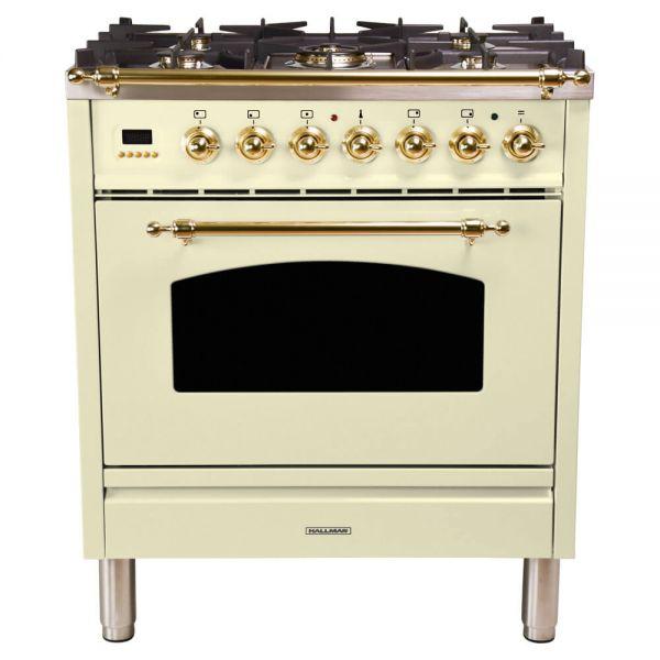 30 in. Single Oven All Gas Italian Range, LP Gas, Brass Trim in Antique White