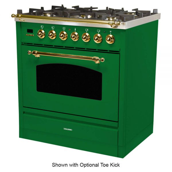 30 in. Single Oven All Gas Italian Range, LP Gas, Brass Trim