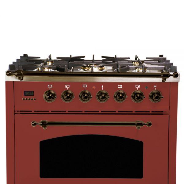 30 in. Single Oven All Gas Italian Range, Bronze Trim