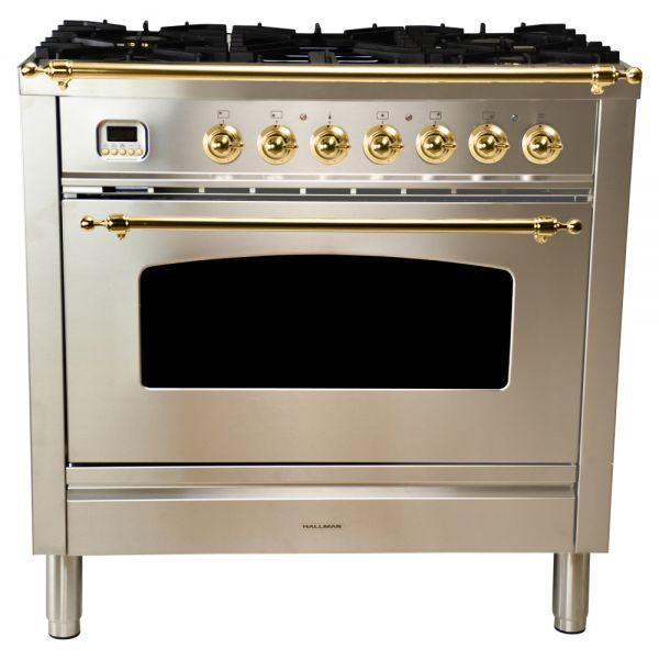 36 in. Single Oven All Gas Italian Range, Brass Trim