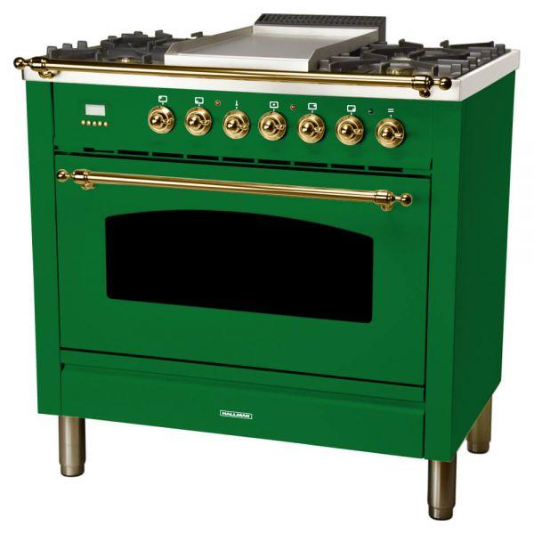 36 in. Single Oven All Gas Italian Range, LP Gas, Brass Trim in Emerald Green