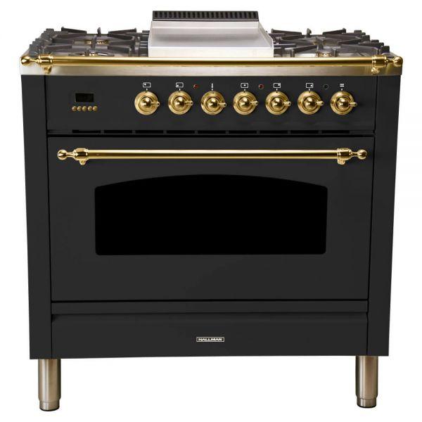 36 in. Single Oven All Gas Italian Range, LP Gas, Brass Trim