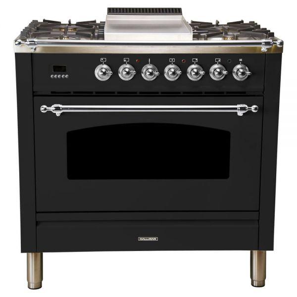 36 in. Single Oven All Gas Italian Range, LP Gas, Chrome Trim in Glossy Black