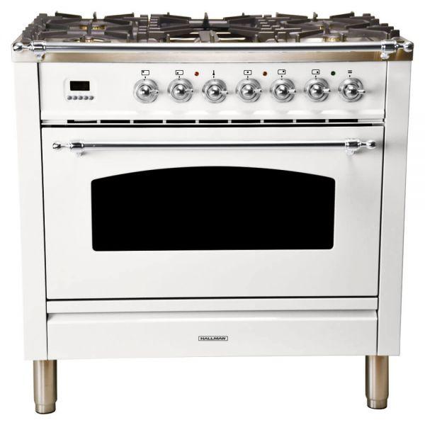 36 in. Single Oven All Gas Italian Range, LP Gas, Chrome Trim